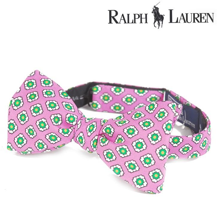Polo Ralph Lauren(ポロラルフローレン) ボウタイ 総柄 ピンク×グリーン シルク og-rl-077