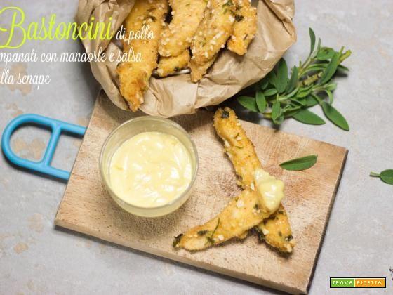 Bastoncini di pollo impanati con mandorle e salsa alla senape  #ricette #food #recipes