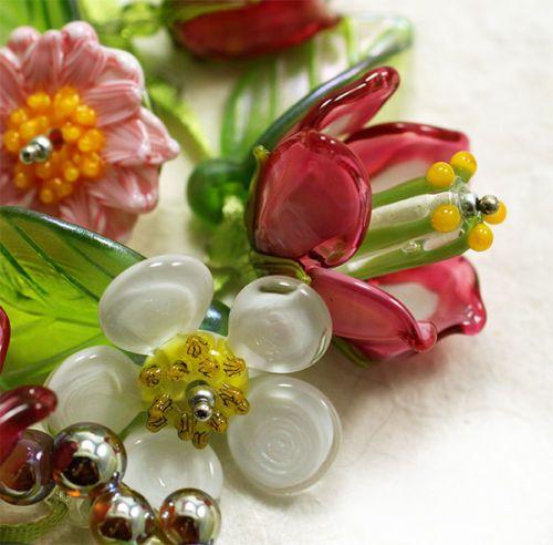 jopanda lampwork glass beads handmade sra bellflowers daisies glamour pink ebay