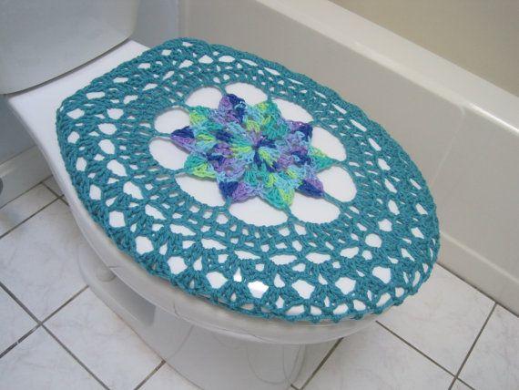 Cubierta de asiento de inodoro de ganchillo o Crochet inodoro tapa cubierta del tanque - flores silvestres/aqua (TSC17E-19VC14 o TTL17E-19VC14)
