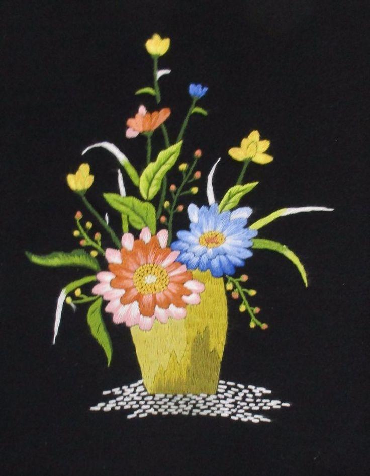 Vintage Finished Framed Embroidered Flowers In Yellow Vase Black Background