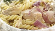 Salmon with Red Onion and Pasta