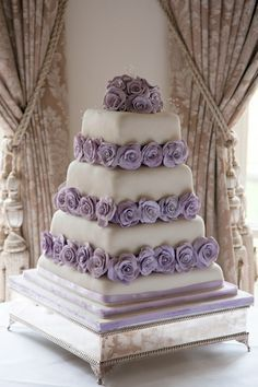 Pretty White Tiered Square Wedding Cake with Lavender Roses