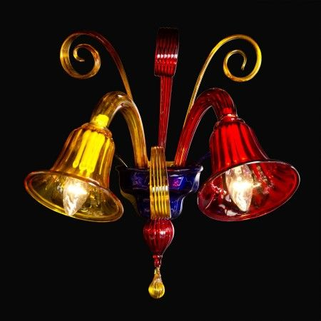 Arlecchino in giù #WallLamp in #Murano #glass worked exclusively by hand with the ancient art of #Murano #glass masters from #Venice.  Visit our web site www.sognidicristallo.it to see or buy online our creations!
