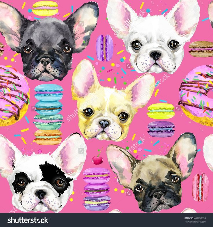cute dog seamless pattern. French Bulldog. Puppy watercolor illustration. Fashion print. Sweet dessert background.