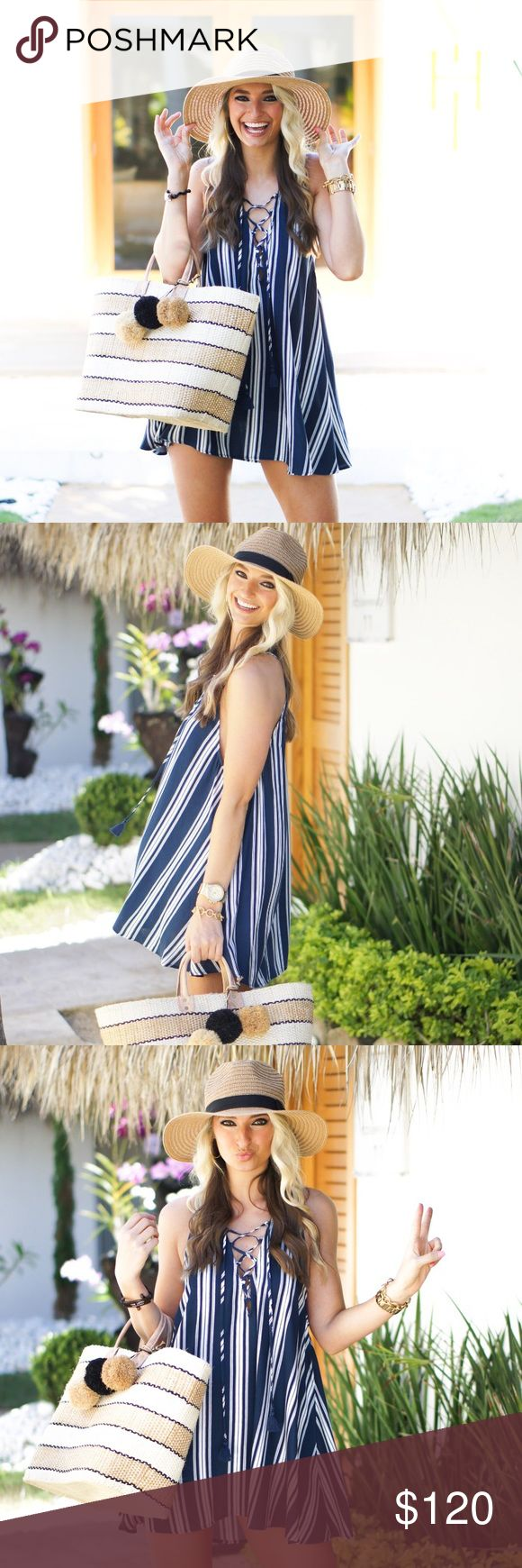 Show Me Your Mumu Rancho Mirage Tunic Dress Navy Perfect for a sail around the marina or coffee at that new cafe around the corner that you have been meaning to check out. Navy Stripe Breeze is super easy going. With her luxe blue and crisp white, she's basically as versatile as denim. Browns, beige, reds, and yellows all add to her strong personality. Finish her off with some silver and gold rings and cuffs. NWOT**  *100% Rayon *Laces up front *Can be worn as tunic or short dress *Basically…