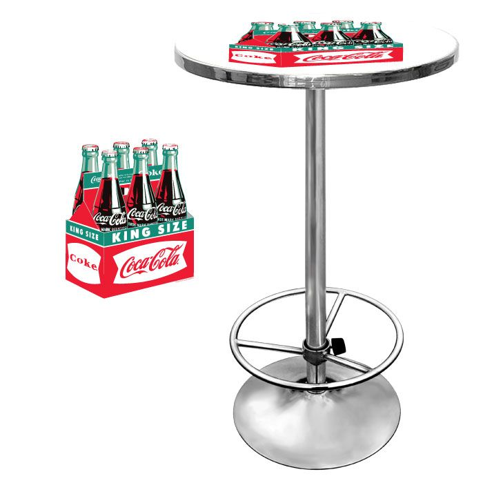 This table is 42 inches tall with a 28 inch diameter. Drink a beer while you admire its chrome plating, designed to ensure the table will stand the test of time. The acrylic finish will also protect the logo from any spills. Don't hesitate, the Vintage Coca Cola Six Pack Design Bar Table, for sale now, is an offer that's too good to pass up. Now Only: $349.95