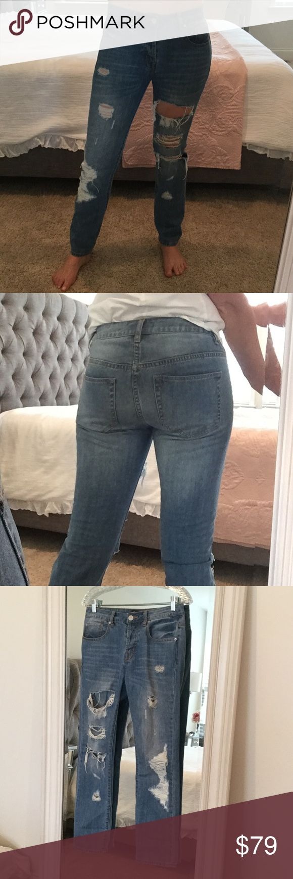 Nasty Gal boot legged distressed jeans As seen on instagram bloggers such as Emily Ann Gemma. Super popular Jeans. I feel they run small. Worn a handful of times and in excellent used condition from a smoke free home. Nasty Gal Jeans Boot Cut