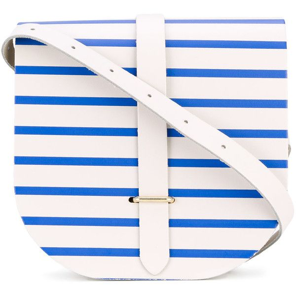 The Cambridge Satchel Company striped saddle bag ($193) ❤ liked on Polyvore featuring bags, handbags, shoulder bags, white, leather purses, real leather purses, nautical purse, genuine leather shoulder bag and white leather purse
