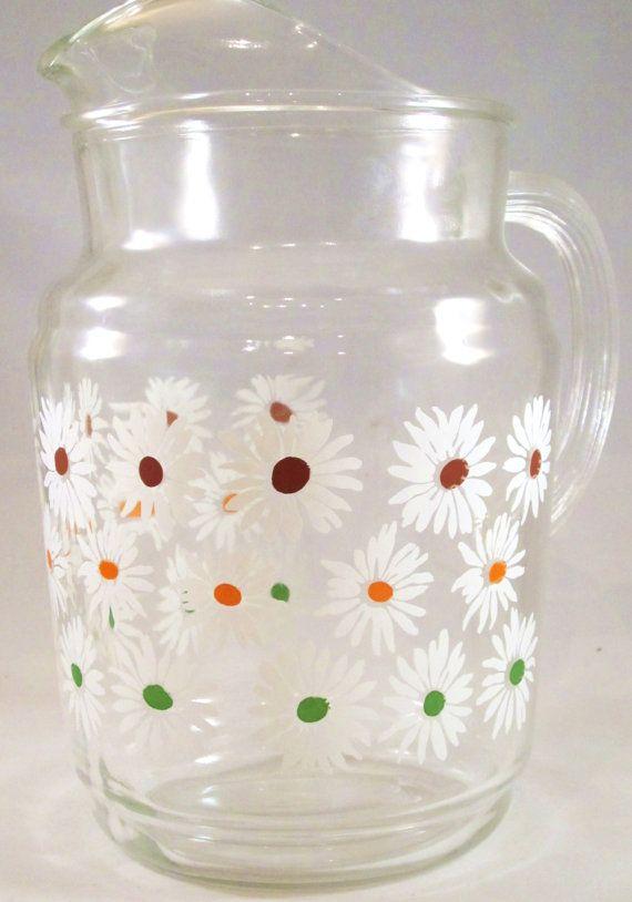 Vintage Glass Pitcher - Daisy  Multicolor