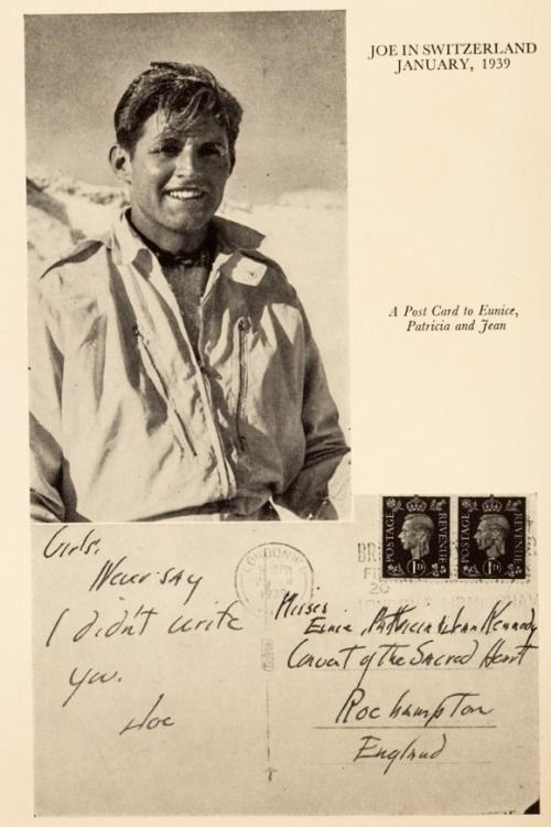 Joseph Kennedy Jr. sent this postcard to his sisters, Eunice, Patricia and Jean
