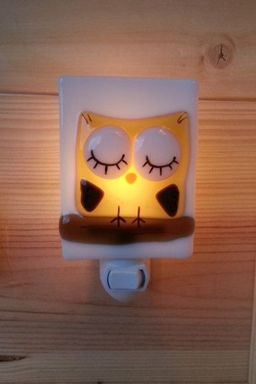 Nightlight owl, fused glass, yellow, baby, room decoration, nursery, shower gift, kid room, children via Etsy