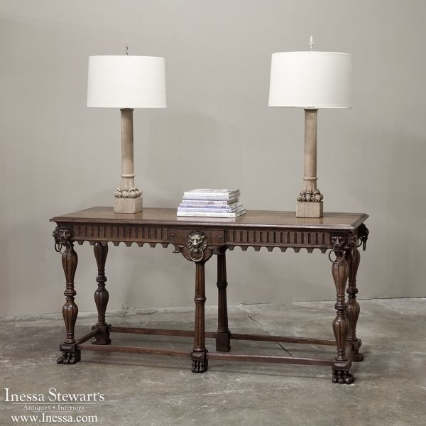 Antique Furniture and Lighting | Antique Table Lamps | 19th Century Architectural Relics- Stripped Gothic Table Lamps | www.inessa.com