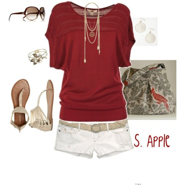 : Summer Fashion, White Shorts, Casual Outfit, Summer Outfit, Style, Shirts, Games Day Outfit, Red Wines, Longer Shorts