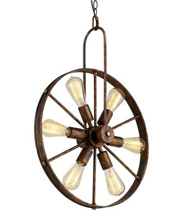 Saralin Wagon Wheel Edison-Bulb Chandelier #zulily #zulilyfinds