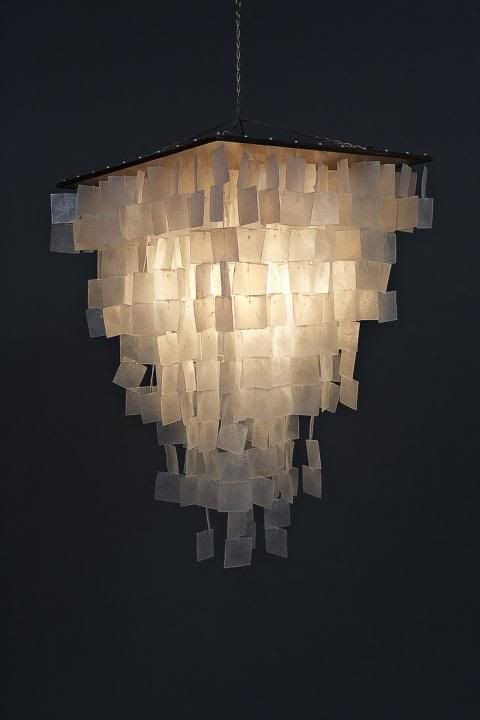 50% off shipping EXPORT QUALITY MODERN capiz & wood square tapered pendant design chandelier. $279.99, via Etsy.