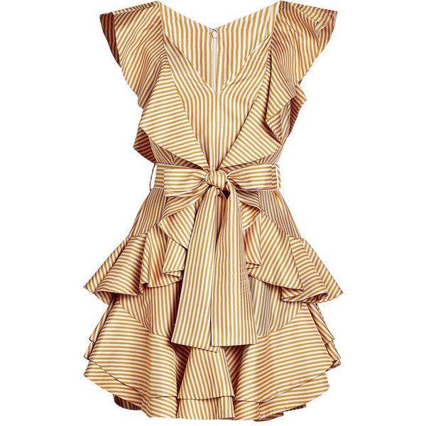 ZIMMERMANN Silk-Blend Twill Dress ($599) ❤ liked on Polyvore featuring dresses, mini dress, flutter-sleeve dress, summer mini dresses, flounce dress and frill dress