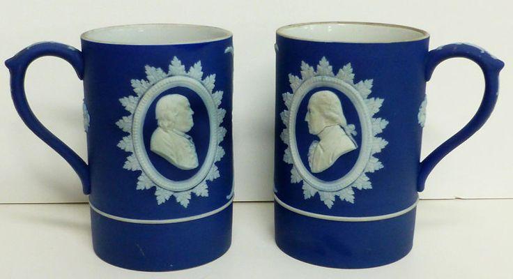 RARE Pr Antique Wedgwood Jasperware Tankards Benjamin Franklin George Washington #wedgwood