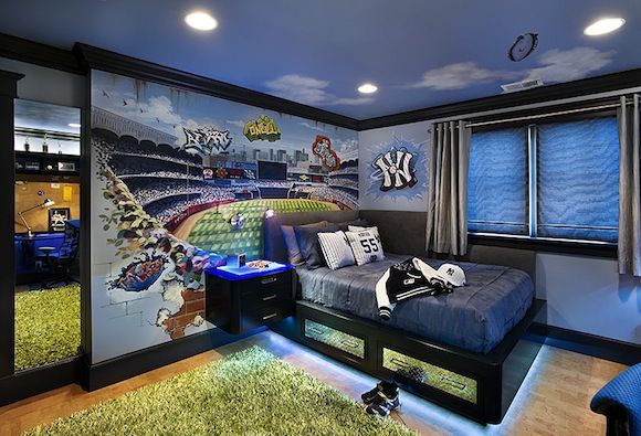 Wants the full stadium.... just wants the NY logo in a baseball without graffitti.: Kids Bedroom, Boy Bedrooms, Bedroom Design, Boy Rooms, Boys Room, Boysroom, Bedroom Ideas, Kids Rooms