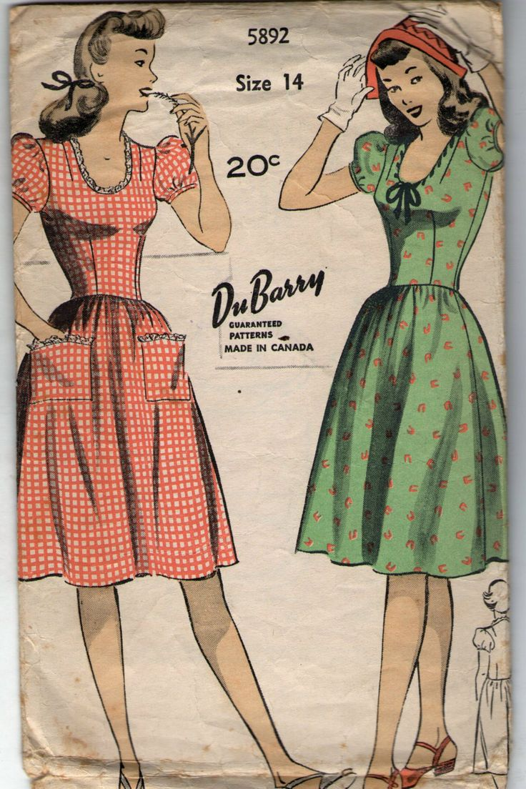 Vintage clothes fashion ads of the 1940s page 22 - Vintage 1940s Dubarry Sewing Pattern 5892 Misses Dress Size 14 Bust 32