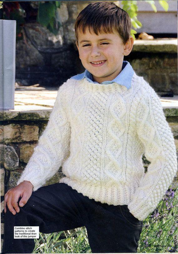 Boys Aran Jumper / Sweater Knitting Pattern. by PatternaliaVintage