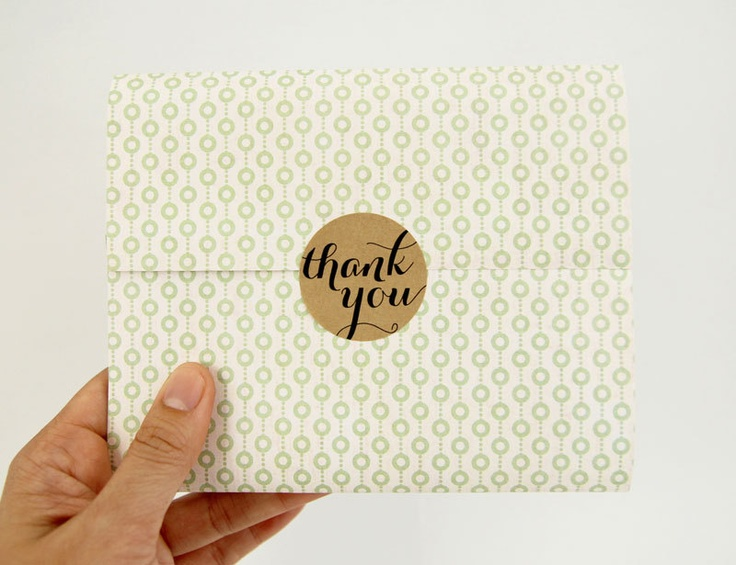 Brown Kraft Thank You Stickers - 1.5 inch wide - 40 pieces. $6.95, via Etsy.