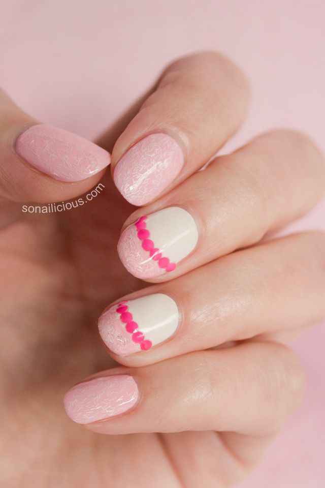 "Pink Nails with Pink Studs - ""5 Ways to Wear Fuzzy Coats"". Click through to see all nail art designs. #nailart #pinknails"