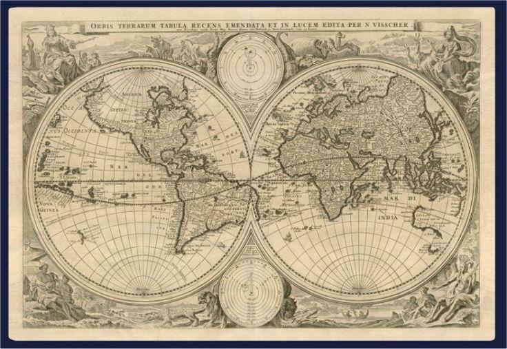 Nicolaes Visscher oude wereldkaart