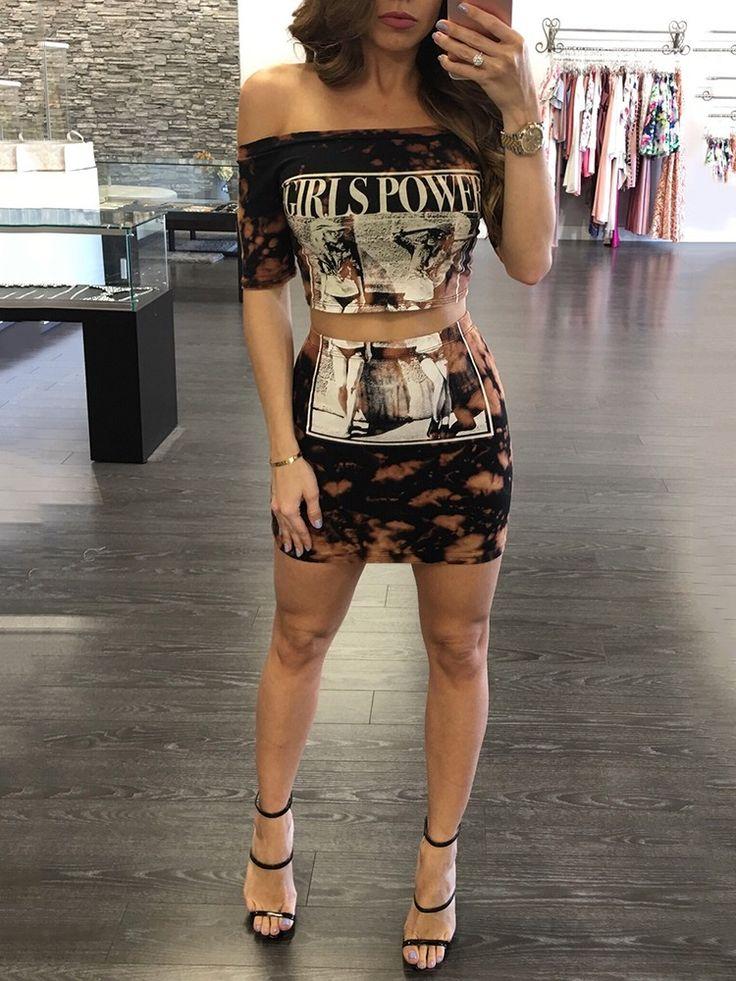 Trendy Digital Print Punk Style Off Shoulder Suit Set