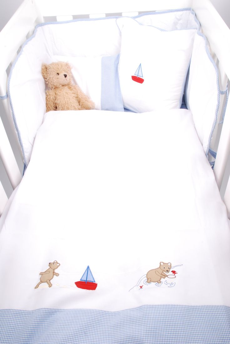 Percale cotton Cot linen set with embroidered Seaside teddies and blue gingham trim from Tom & Bella http://www.tomandbella.co.za/c10/Cot-Linen--Blankets.aspx