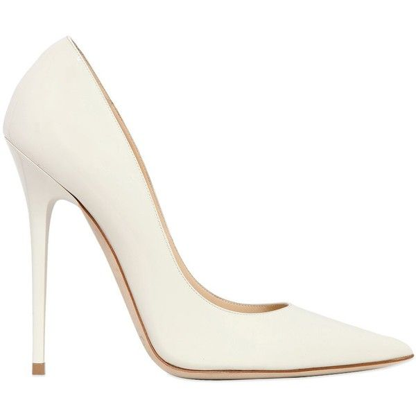 JIMMY CHOO 120mm Anouk Patent Leather Pumps (£210) ❤ liked on Polyvore featuring shoes, pumps, heels, sapatos, high heels, white, pointy toe pumps, white heel pumps, white high heel shoes and jimmy choo shoes