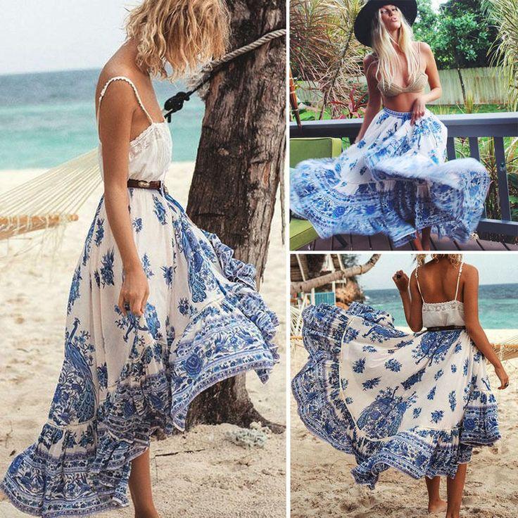Women Ladies Boho Tribal Floral Skirt Maxi Summer Beach Long Casual Skirt Dress | Clothing, Shoes & Accessories, Women's Clothing, Skirts | eBay!