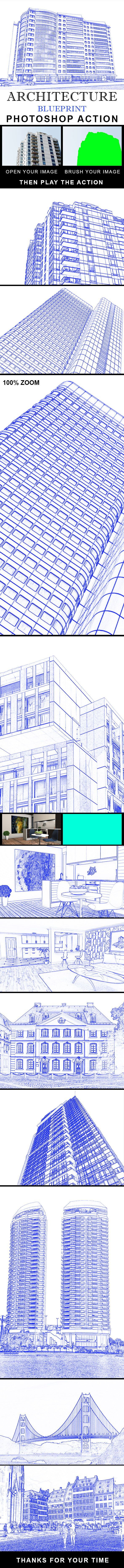 Architecture Blue Print Photoshop Action - #Photo #Effects #Actions