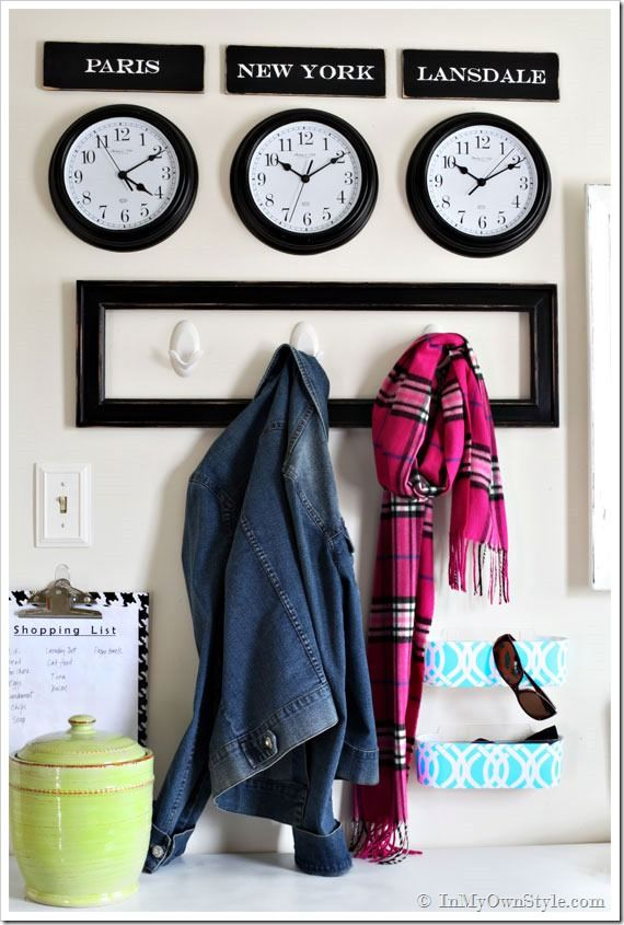 Mudroom-Organizing-Ideas love the clocks great idea if you had family overseas. Also frame around the. Hooks looks smart