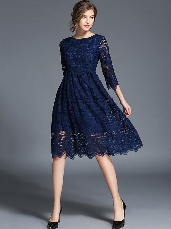 6a8f1c0063 Navy Blue Hollow Out Lace Swing Midi Dress | Clothes | Dresses, Navy ...