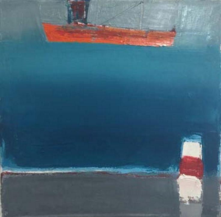 Island Harbour lll - Cormac O'Leary  oil on canvas 20cm x 20cm