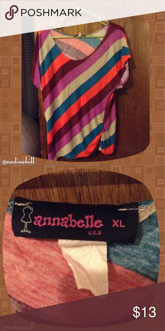 🆕ITEM GENTLY USED SHIRT EUC (MAKE A OFFER) 🌸 🌸🌸 EUC Side Stripped Multi-Color Shirt by Annabelle. It's a size XL can fit a number size 12/14 in women's. Has a slouchy neckline & wide opening sleeves. Comes from a smoke free & pet free home worn a total of 2 times. Bundle w/other items to get a better discount. Thnx 4 stopping by Be Blessed. 🌸🌸 Annabelle Tops Tees - Short Sleeve