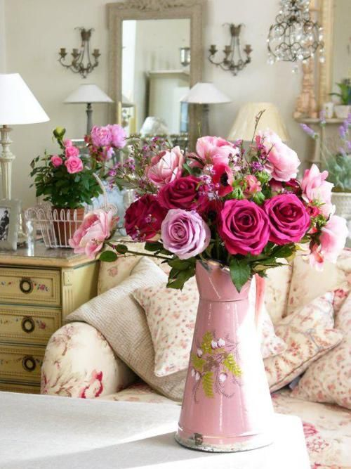 Pink Flowers: Fun Recipes, Enamelware Pitchers, Shabby Chic, Roses, Flower Arrangements, Pink Rose, Flowers, Floral, Shabbychic