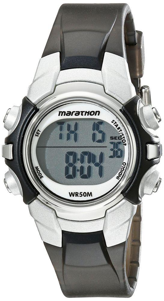 Men Women Sport Watch Mid-Size Water Resistant Digital Black/Silver Resin Strap #MarathonbyTimex #Sport
