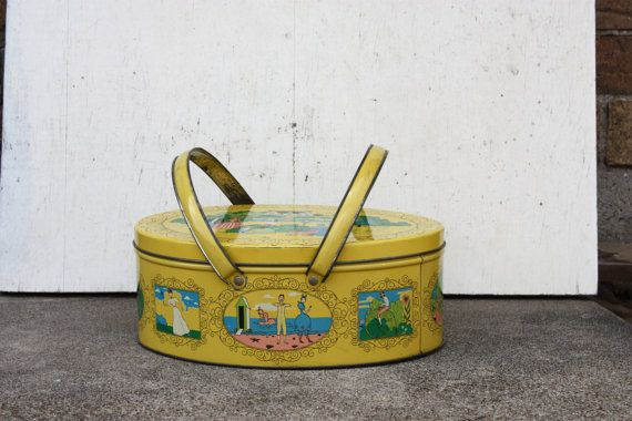 Vintage Tin Lunch Box/Sewing Box with Victorian Scenes $16.00