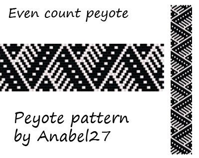 Black & White peyote pattern - beadwork - ethnic style - monochrome - bead pattern #81