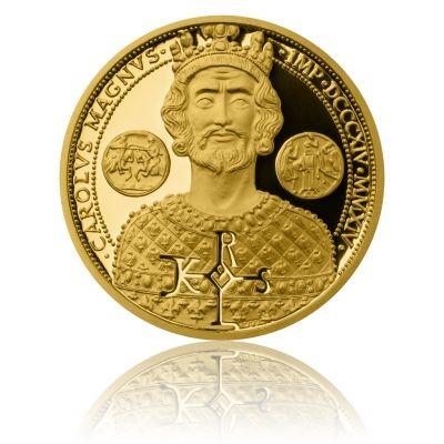 Zlatá půluncová mince 10 NZD Karel Veliký proof | Česká mincovna