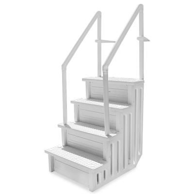 XtremepowerUS 32 in. Plastic Pool Safety Ladder 4-Step Deck Stairs for Above Ground Pools  – Products