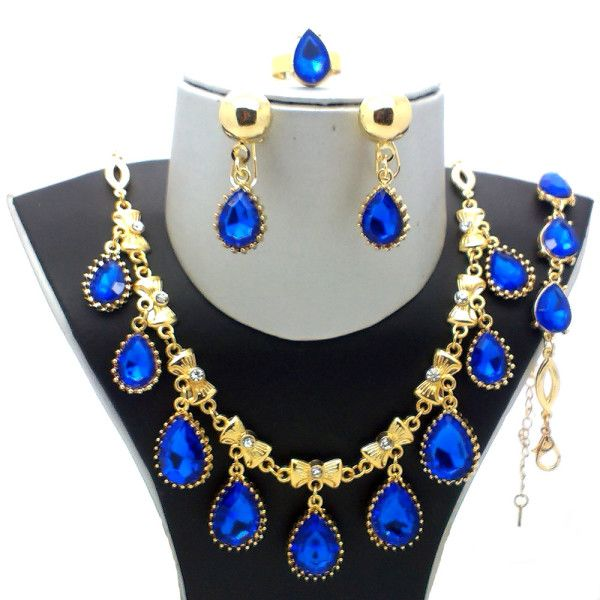 Beora Gold Plated Austrian Diamonds Blue Waterdrop Jewellery set @ Trendymela.com