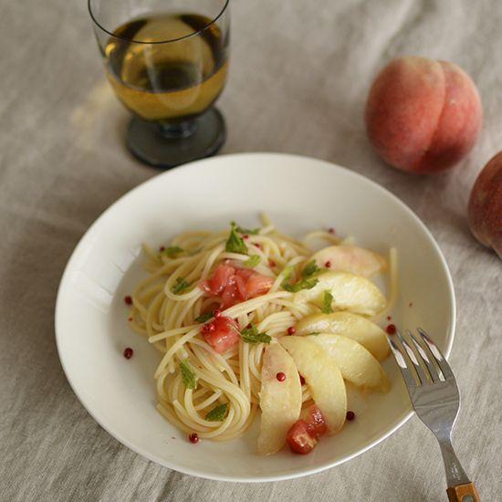 桃とトマトの冷製パスタ
