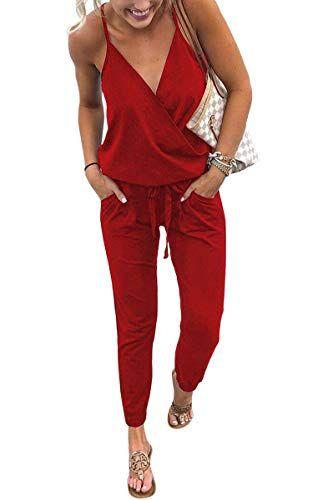 37fd42c1552135 ECOWISH Damen Jumpsuit Lang V Ausschnitt Overall Sommer Ärmellos Hosenanzug  Träger Playsuit Romper Rot M