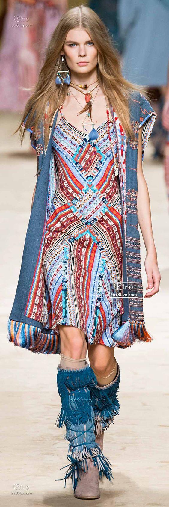 Boho Let's Go! Dress Designer Fashion Trends Etro Spring 2015-16 RTW Collection: