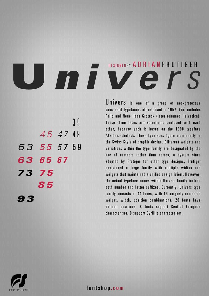 Poster Univers Typeface