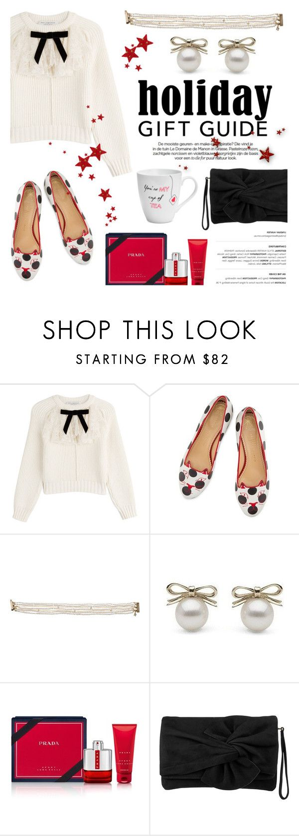 """""""Gift Guide: Besties"""" by littlehjewelry ❤ liked on Polyvore featuring Philosophy di Lorenzo Serafini, Charlotte Olympia, Prada, Karen Millen and Pfaltzgraff"""