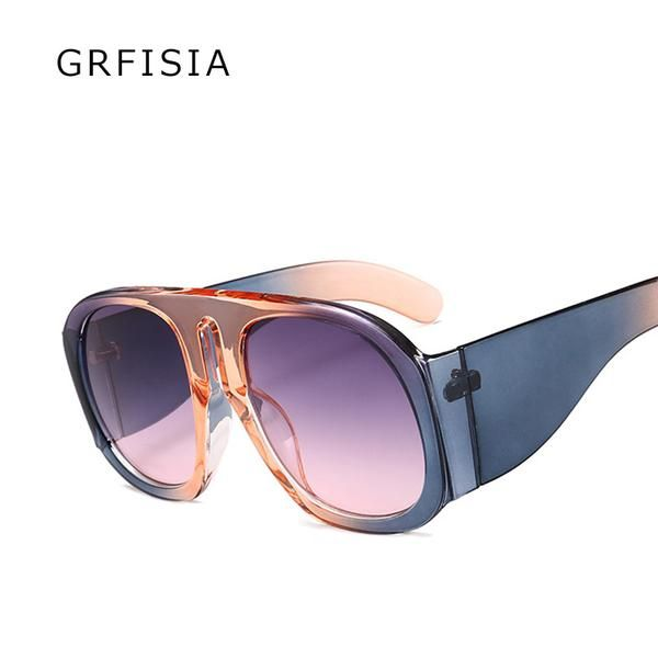 52324a243e GRFISIA Ladies Round Sunglasses Women Big Frame Gradient Brand Sunglasses  Designer Fashion Shades Vintage Glasses UV G171
